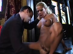 Hot curly haired blonde banged