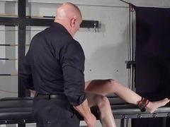 Amateur slave Louise in dungeon rack bondage