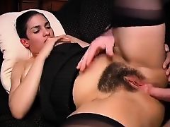 Big Boobs, Hairy  French Brunette is Too Hungry for Cock