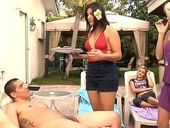 Bikini girl gives a head