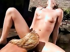 Sandy and Tori Black making love outdoor