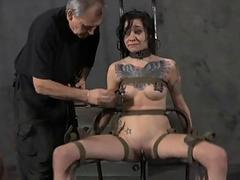 Tormented slave is giving master a lusty blowjob