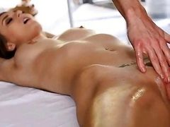 Glamour girl sucking hard penis after massage