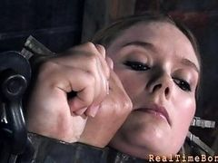 Tied up slave receives pleasuring her naughty twat