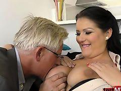 Brunette pornstar surprise anal and cum on tits