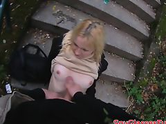 Pickedup babe banged in the public