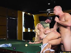 Busty blonde pornstar Luna Star anal rammed on pool table