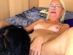 Hot young girl licks and fucks granny
