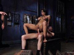 tied up slut rides hard cock