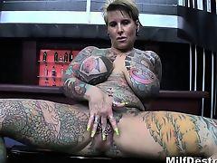 Granny Tattooed Blonde With Big Tits