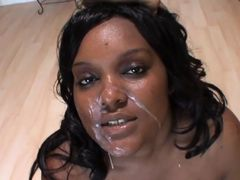 black and white bbw got their face covered with cum