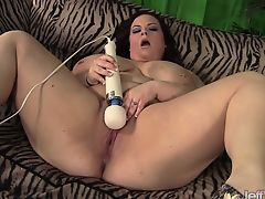 Super horny BBW takes her clothes off and rubs her pussy.