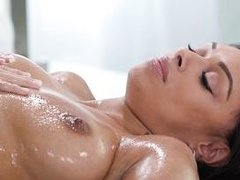 oiled mff threesome on the massage table