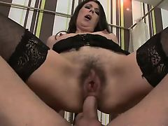 Glamcore brunette assfucked and fingered