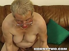 Wet chubby granny old pussy fucking younger lad happy for