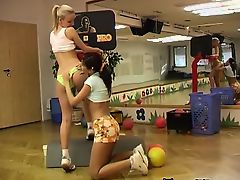 Cindy and Amber humping each other in the gym