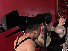 Lustful honey with body cums while riding a dick