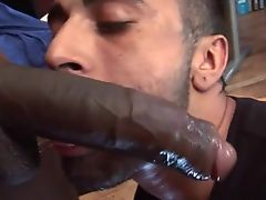 Deepthroating a huge black cock