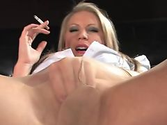 Smoking secretary smoking and masturbating