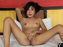 Asian babe seduced into riding schlong in hotel room