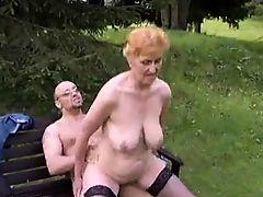 Slut granny with nice boobs & guy