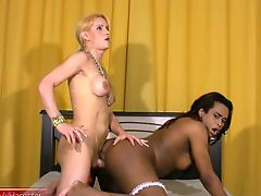 Black chick with dick gets long white meat deep in her ass