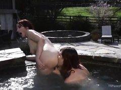tranny fucks and rims in the hot tub
