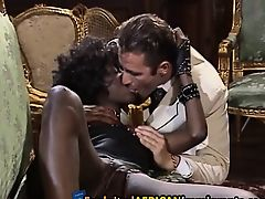 Black hottie double teamed by white Euro