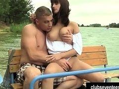 Busty teen Rita gets nailed outdoors