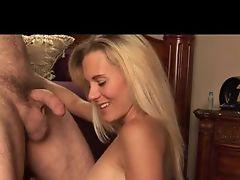 Blonde milf sucks that cock balls deep