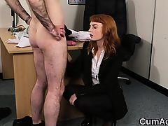 Peculiar bombshell gets cumshot on her face swallowing all t