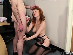 Naughty honey gets cum shot on her face gulping all the jism