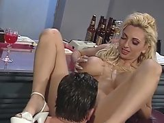 Guy fucks big titted blonde in bar