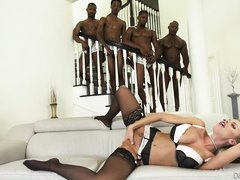 blonde takes four black dicks @ blacked out #08