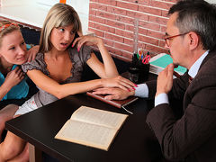 TrickyOldTeacher - sexy sexy students suck cock and have threesome with older teacher