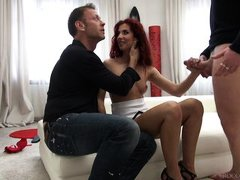 mmf threesome with redhead babe @ rocco's intimate castings