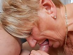 Grandma blows her a bit younger lover