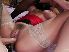 dirty shemale and hot babe fuck horny dude