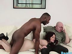 Redhead milf fucked in real cuckold action