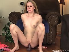 Small Breasted MILF Chloe Riding A Big Black Toy