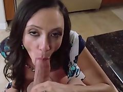 Gorgeous milf Ariella Ferrera gets cum shower on her tits