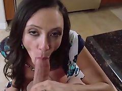 Gorgeous milf Ariella Ferrera gets cum shower on her tits