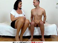 Chubby big tits cougar Danielle facesitting skinny boy