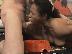 Black Ivy Young Getting Fucked In The Tits And Face On Floor