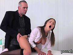Cuddly schoolgirl was seduced and banged by her elder instru