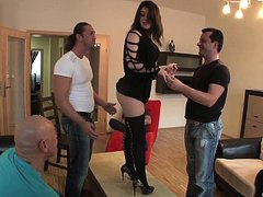 Brunette gets blow-banged HARD