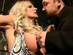 Older blonde getting bondaged and punished