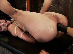 Hot Brunette is Tied Tight and Fisted in the Ass