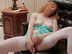 Horny redhead loves to masturbate whne she is alone