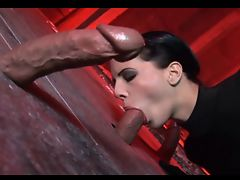 European model sucks 3 cocks at a gloryhole